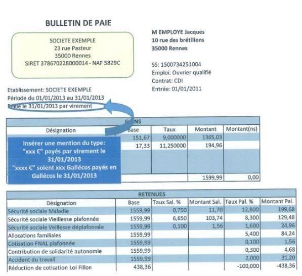 Bulletin de salaire galléco